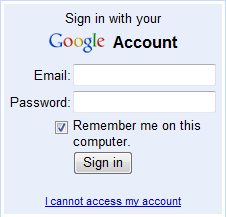 GMail login screen